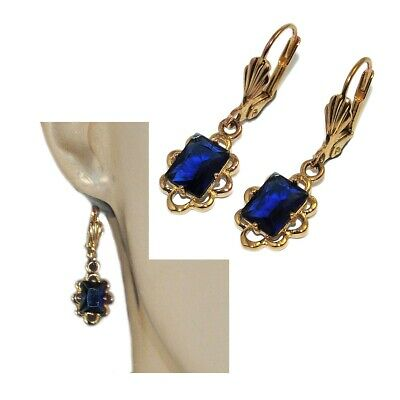 Disinteressato Boucles D'oreilles Dormeuses De Couleur Or Cristal Bleu Bijou Squisito Artigianato;