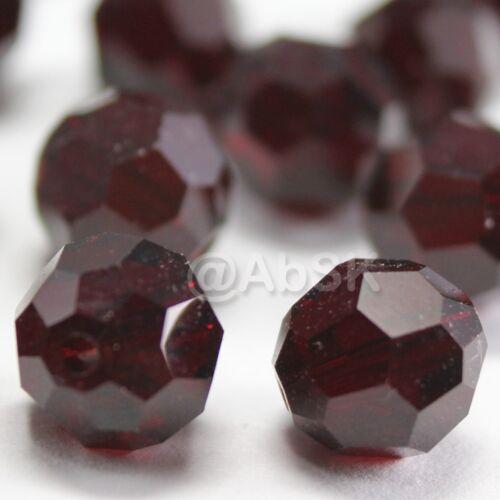 48 pieces Swarovski Element 5000 faceted 5mm Round Ball Beads Crystal Garnet