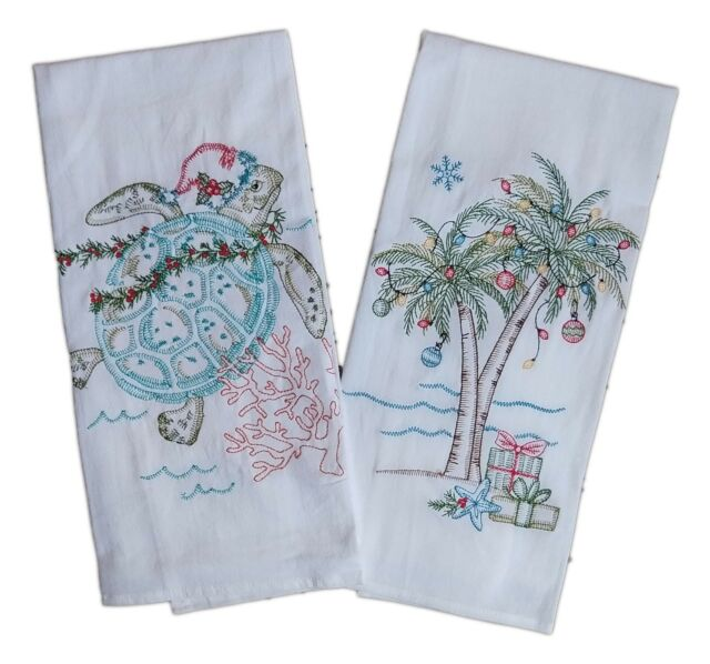 CHRISTMAS Sea Turtle & Palm Tree Embroidered Flour Sack Kitchen Towels, Kay  Dee