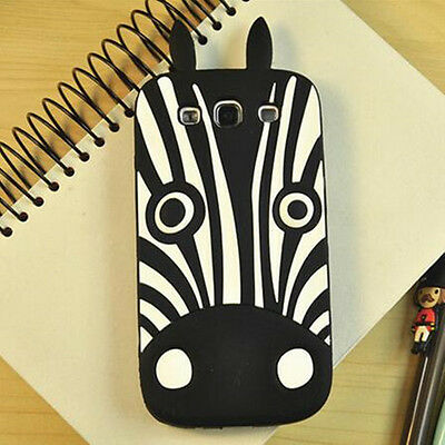 Soft Rubber Gel 3D Lovely Zebra Case Cover Skin For Samsung Galaxy S3 SIII i9300