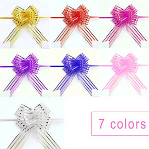 10x-Organza-Ribbons-Pull-Bows-Colorful-Wedding-Party-Floristry-Car-Decorations