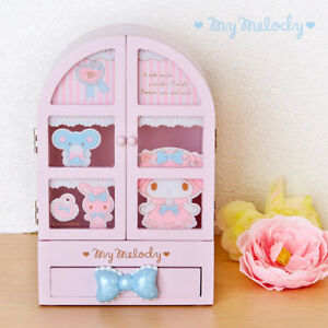 Hello-Kitty-My-Melody-Twin-Stars-Jewelry-Accessories-Storage-Makeup-Box-Anime