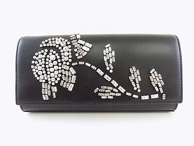 MICHAEL KORS BELLAMIE Black EMBELLISHED LEATHER Clutch Handbag   eBay