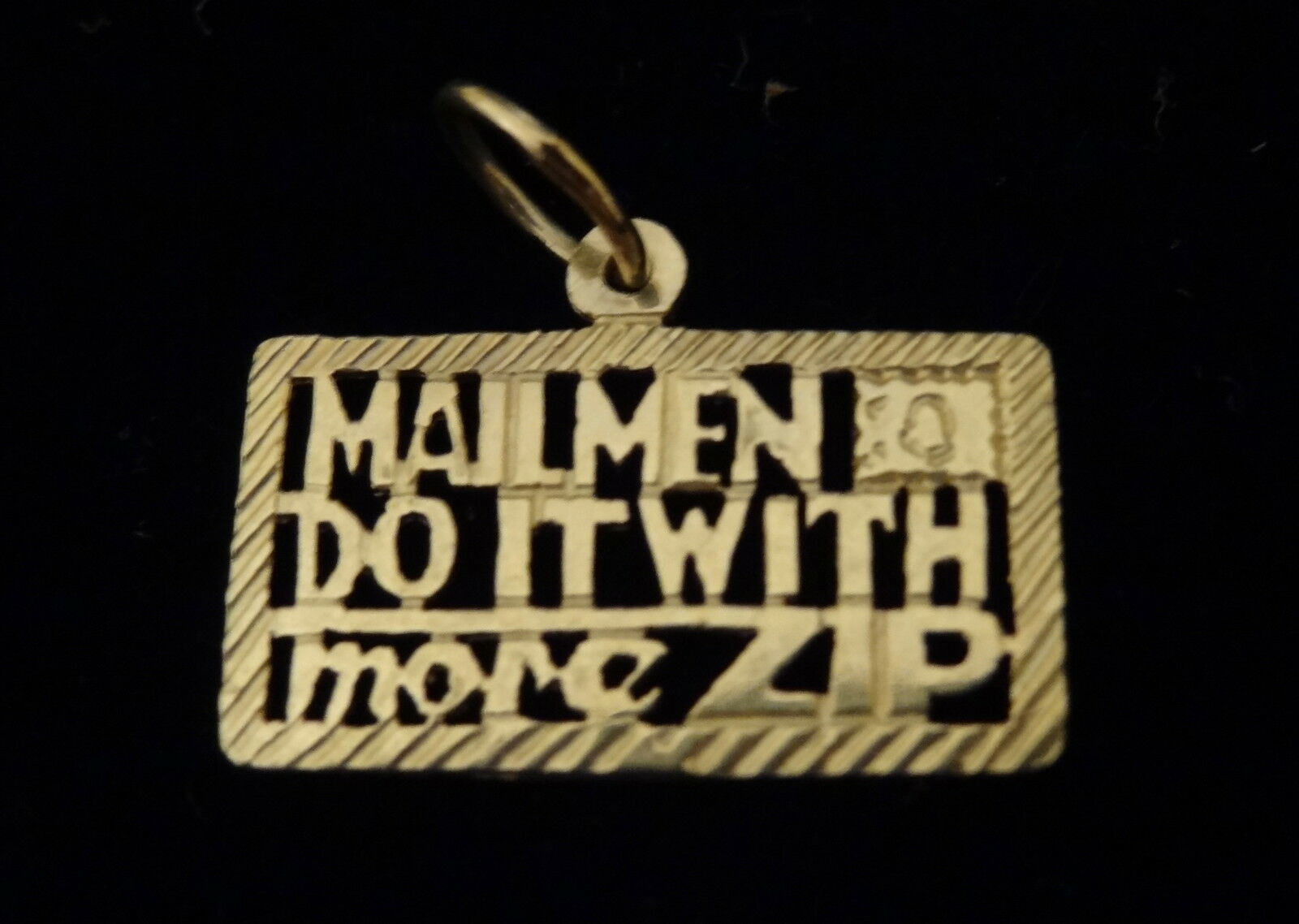 14Kt gold MAILMEN DO IT WITH MORE ZIP PENDANT CHARM POST OFFICE POSTAL NEW