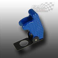 AIRCRAFT STYLE BLUE CARBON EFFECT FLIP COVER FOR 12v RACING TOGGLE SWITCH