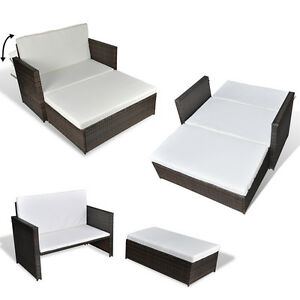 3 in 1 rattan sofabett sofa lounge gartengarnitur gartenliege klappbar ebay. Black Bedroom Furniture Sets. Home Design Ideas