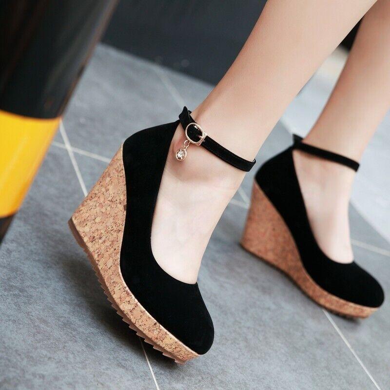 Retro Talon Compensé Bride Cheville femmes chaussures Escarpins Confortable 9 cm Haute chaussures de loisirs