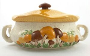 Vtg-Arnels-Mushroom-Serving-Dish-Soup-Tureen-Casserole-Hand-Painted-Lid-Handles