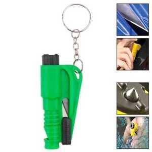Herramienta de Rescate Seguridad Rompe Cristales Corta Cinturones Silbato Verde