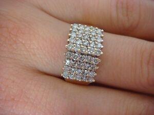 4e9fecfc48a34 14K YELLOW GOLD 1 CT 5 ROW DIAMONDS LADIES PYRAMID RING 4.5 GRAMS ...