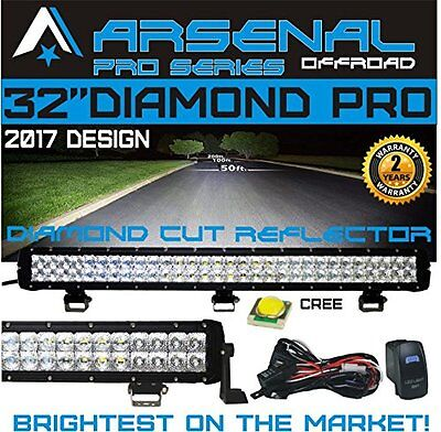 "#1 32"" 7D DIAMOND PRO SERIES Dual Row LED Light Bar Flood/Spot Combo Beam CREE"