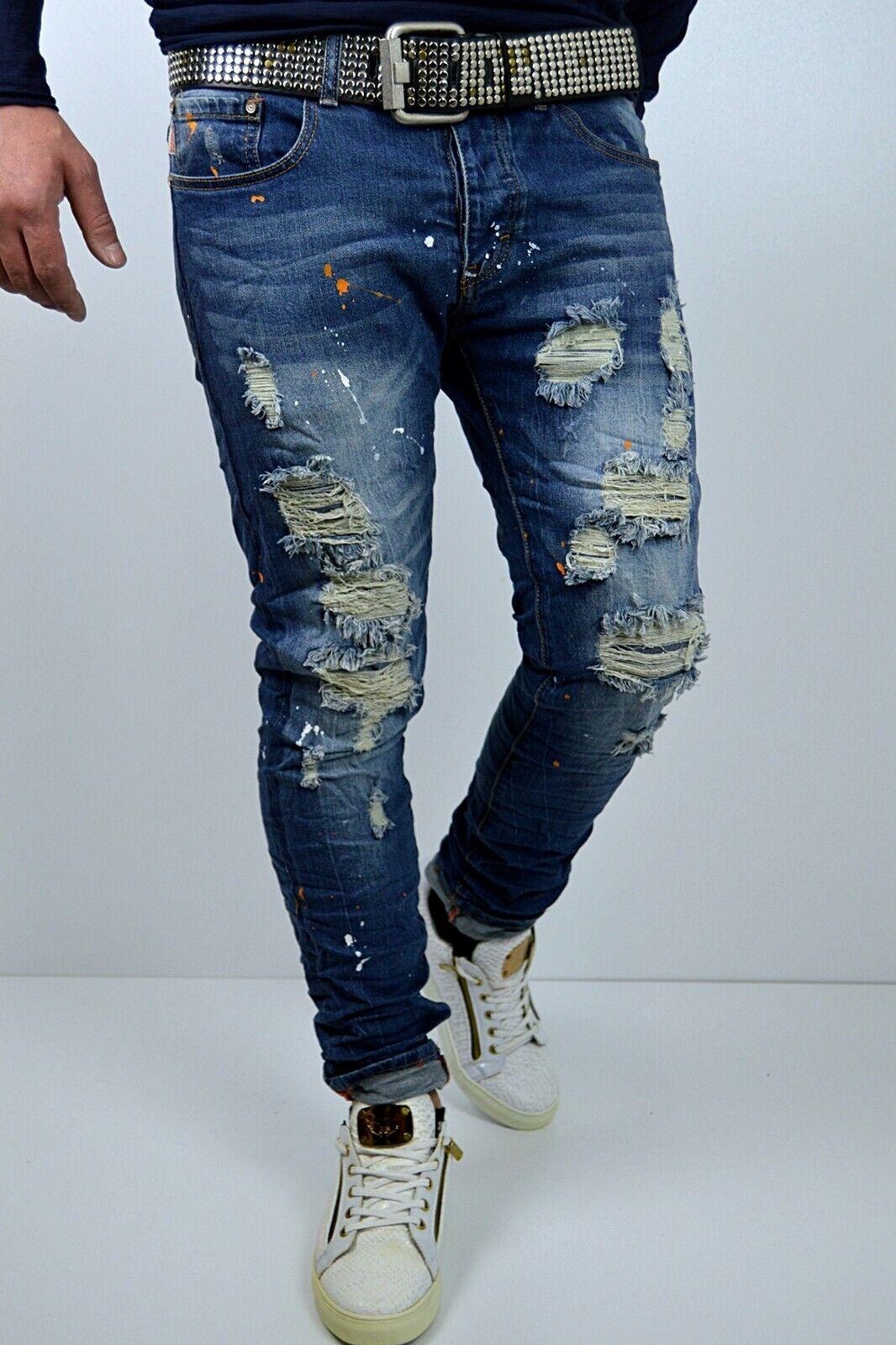 Heavy Destroyed Men's Style Splash Skinny bluee Stonedwash Used Jeans Trousers