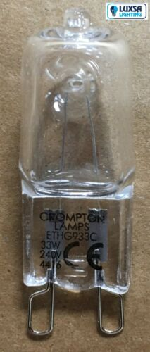 20 x Crompton 33W G9 Halogen economy 240volt 33W = 40W 240v 33 Watt Clear