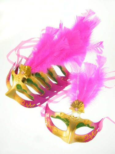 6x Maske Augenmaske Venezia Federn Pink Karneval Maskenball