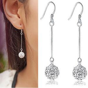 Womens-Silver-Hook-Earrings-Crystal-Disco-Ball-Long-Drop-Dangle-Earrings-Jewelry