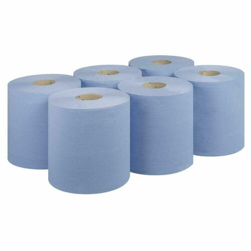 Blue 12 X Paper Rolls 2 Ply Embossed Centre Feed Hand Kitchen Towel Tissue Rolls