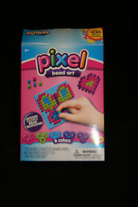Kids Crafts Art Skills Pixel Bead Art Over 6 Colors 300 Beads Ages 6+.......NEW