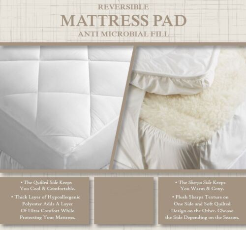 All Seasons Reversible Mattress Pad Soft Sherpa and Cool Quilted Sides QUEEN NEW