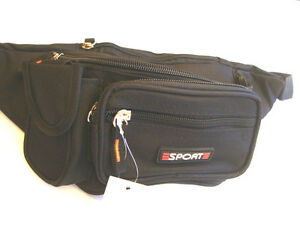 Waist-Pouch-Travel-Bum-Bag-Black-New