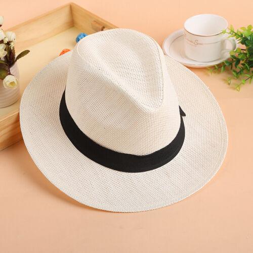 Unisex Men Women Straw Braid  Homburg Trilby Hat Cap Fedora Jazz Sunhat Panama