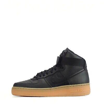 Detalles de Nike Air Force 1 Hi Se Mujer Zapatillas de Cuero BlackBlack