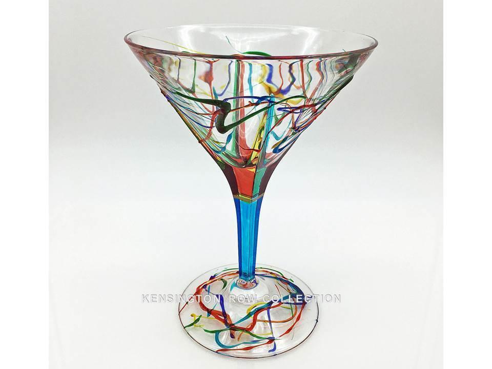 AMALFI  MARTINI GLASS - TURQUOISE STEM - HAND PAINTED VENETIAN GLASSWARE