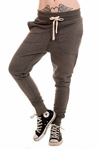 LADIES-CARROT-FIT-TWISTED-CUFFED-HEM-DROP-CROUCH-SKINNY-JOGGERS-CHARCOAL-XS-XL