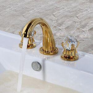 Bathroom vanity sink faucet two crystal knobs brass golden - Gold bathroom faucets with crystal handles ...