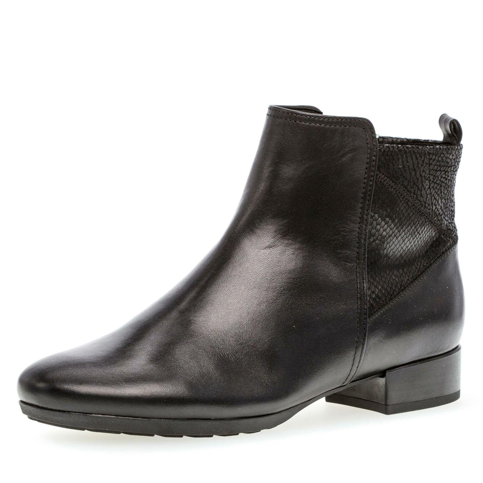 Gabor Comfort Damen modische Stiefelette Komfortschuhe Leder  Schuhe schwarz