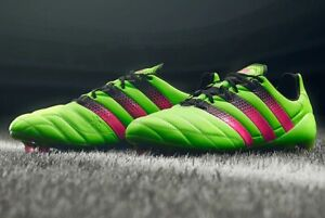 check out fb6b7 d132a Details about ADIDAS ACE 16.1 FG/AG Leather AF5099 Football Boots Green/Pink