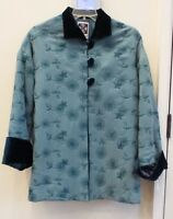 Hairston Roberson ropa Teal mandarin Holiday Jacket, Size Medium,