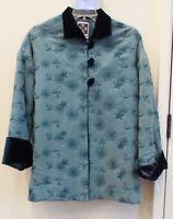Hairston Roberson ropa Teal mandarin Holiday Jacket, Size Medium,