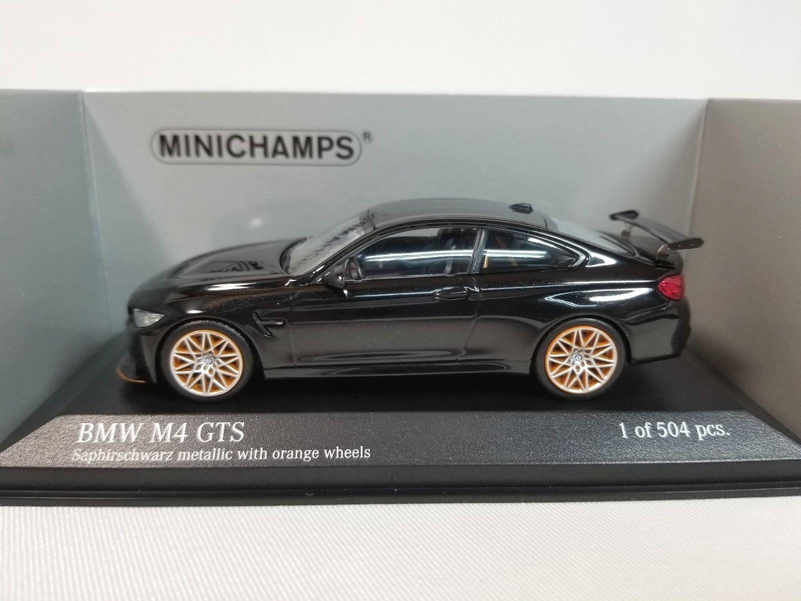 1 43 Minichamps Minichamps Minichamps BMW M4 GTS Coupe F82 2016 Twin Turbo I6 Negro Con Ruedas Naranjas le 3aa6f3
