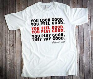 online store d96a6 28994 Details about Neon Deion Sanders Primetime Atlanta You Look Good You Feel  Good T-Shirt Size