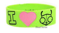 Invader Zim I Heart Love Gir Green Rubber Bracelet Jewelry Officially Licensed