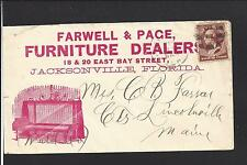 """JACKSONVILLE, FLORIDA COVER.  FULL FRONT AD: """"FARWELL & PACE"""" FURNITURE DEALER."""
