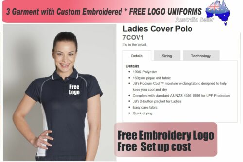 3 Cus Panel Ladies Polo with Your Embroidered FREE YOUR LOGO POLO 138