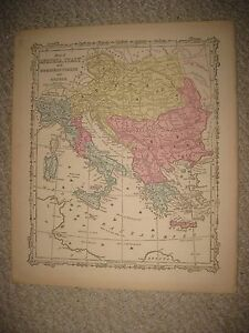 Antique 1864 austria italy turkey in europe greece hungary map image is loading antique 1864 austria italy turkey in europe greece gumiabroncs Choice Image