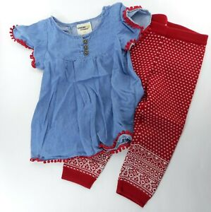 Genuine-Kids-from-OshKosh-Toddler-Girl-Outfit-Size-2T-Denim-Top-Sweater-Pants