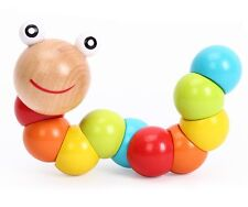 Chic Unisex Baby Train Child Magical Twisting Insect Wooden Toy Puzzle Toys Z