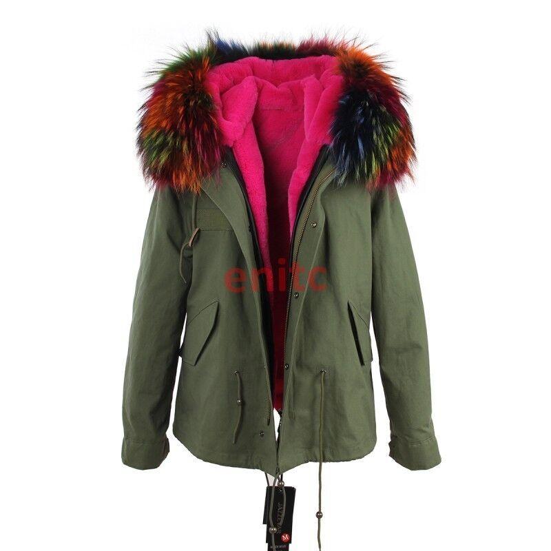 Cuello de piel de invierno de mujer Colors parka Abrigo  Forrado Chaquetón Abrigo Militar 18s  alta calidad