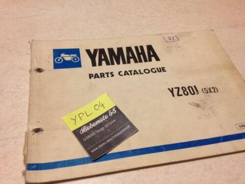 Yamaha parts list YZ80J 5x2 YZ80 J YZ 80 cross catalogue pièces détachées