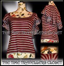 Kate Moss Topshop Striped Stripe Grey Wine Ribbon Cape Cap T-Shirt Top UK 6 8