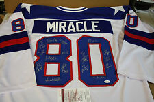 "1980 ""MIRACLE ON ICE"" TEAM USA SIGNED WHITE JERSEY SIZE XL JSA WITNESS 17 SIGS"