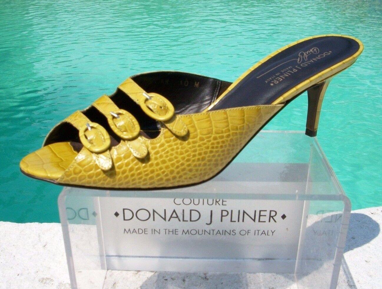 Donald Pliner Couture Gator Leather Shoe New 5.5 Sandal 3 Strap Buckles $295 NIB