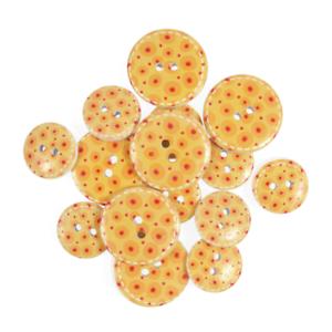 25 mm Assortiment 15 x jaune d/'œuf spots en Bois Craft boutons 18 mm