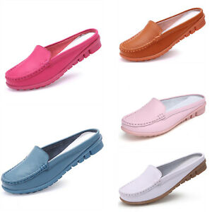 50ecfd1e6254b Ladies Slip on Leather Loafer Mules Flats Backless Moccasins Casual ...
