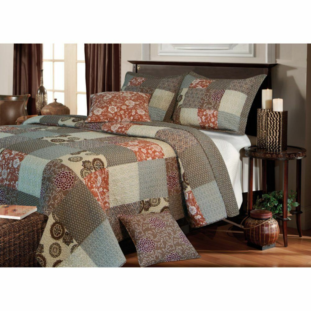 BEAUTIFUL REVERSIBLE COTTON grigio TAUPE BURGUNDY CABIN PLAID PATCHWORK QUILT SET
