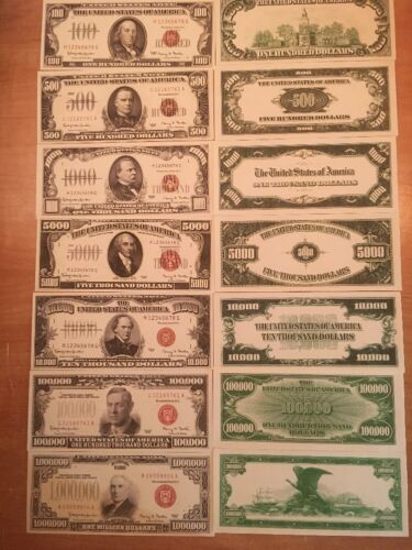Reproduction  Paper Money 1966 7 Piece Red Seal Set US Currency Copy Note