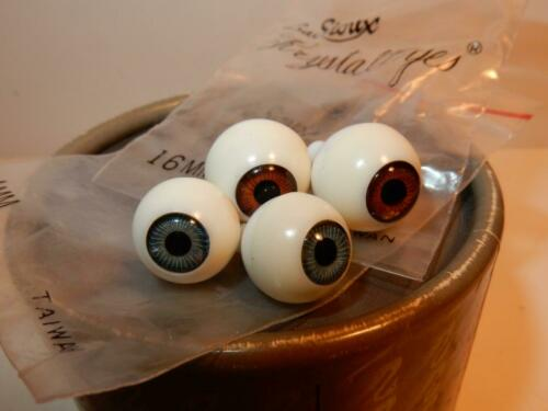 16 MM BROWN EYES LOT PAIR 14 MM BLUE LOT FOR ANTIQUE GERMAN BISQUE DOLL